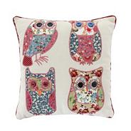 Pink patchwork owls scatter cushion