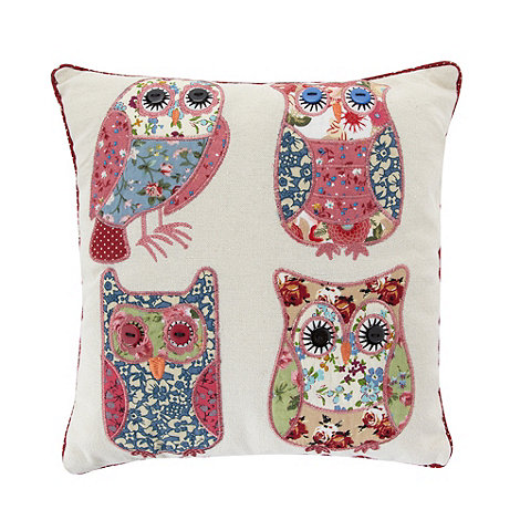 dotcomgiftshop - Pink patchwork owls scatter cushion