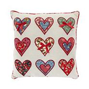 Natural applique heart scatter cushion