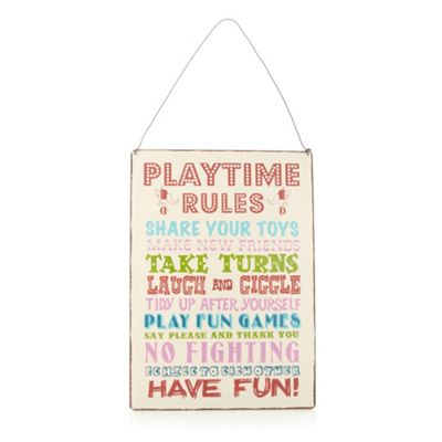 dotcomgiftshop Cream ´Playtime Rules´ sign - . -