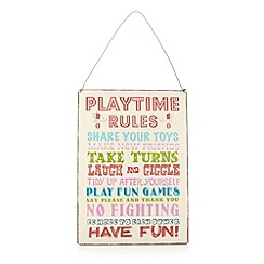dotcomgiftshop - Cream 'Playtime Rules' sign