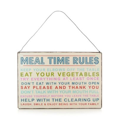 dotcomgiftshop Meal time rules sign - . -