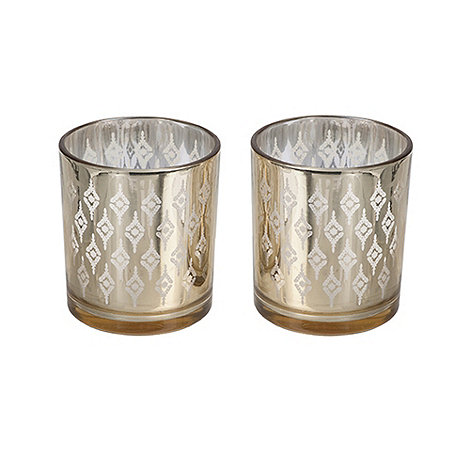 Sia - Set of two light gold tealight holders