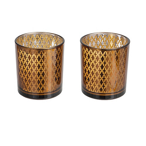 Sia - Set of two dark gold tealight holders
