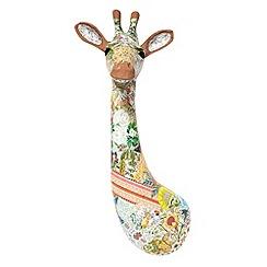 Debenhams - Brown patchwork giraffe wall art