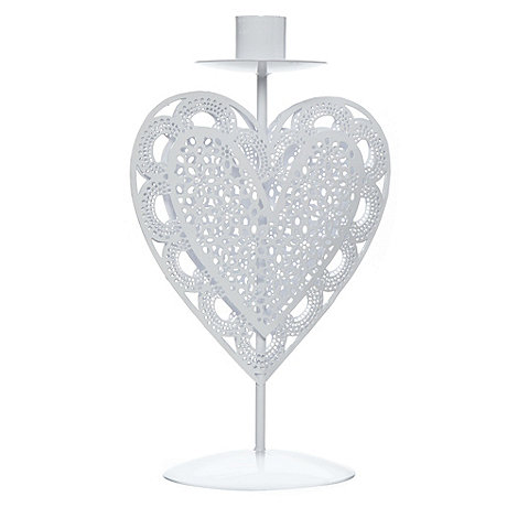 Debenhams - White metal cut out heart candlestick holder