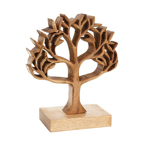 Debenhams Wooden Cutout Carved Tree Ornament Debenhams