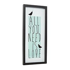 Debenhams - Pale green 'All You Need Is Love' wall art