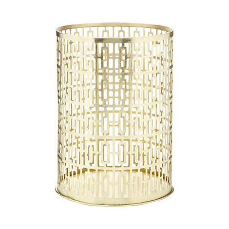 Debenhams - Gold metal geometric pillar candle holder