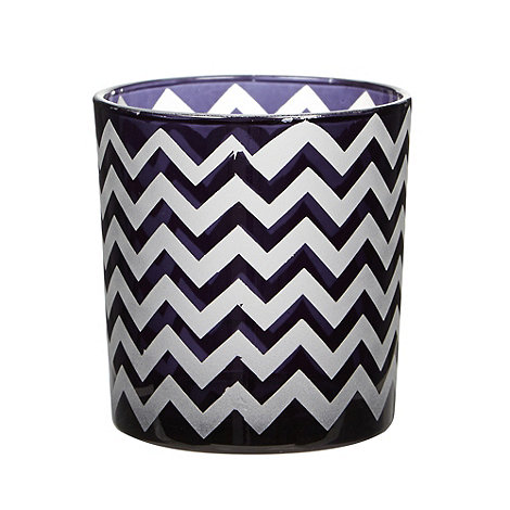Debenhams - Black glass zig zag striped tea light holder