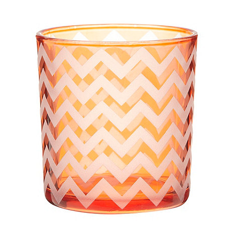 Debenhams - Orange glass zig zag striped tea light holder