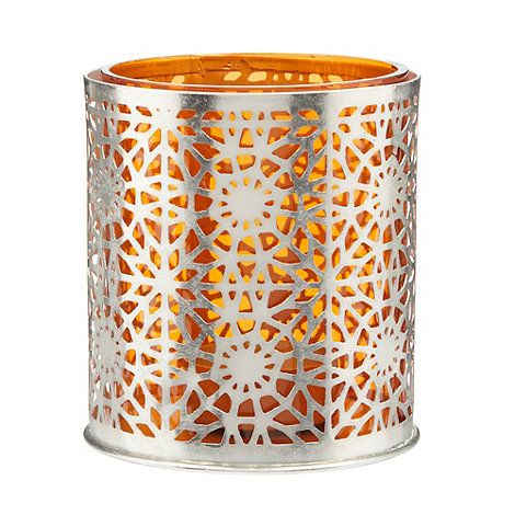 Debenhams - Orange glass cut out tea light holder