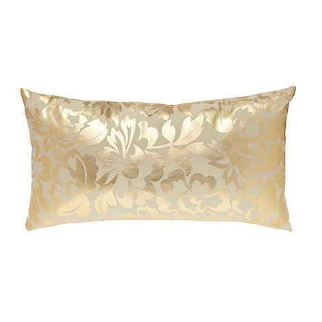 Debenhams - Gold floral cushion