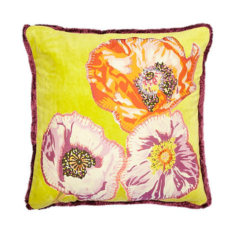 Debenhams - Lime floral applique cushion