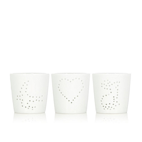 Debenhams - Set of three ceramic punched design tea light holders