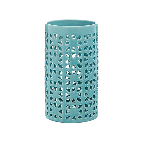 Debenhams - Earthenware geometric pillar candle holder