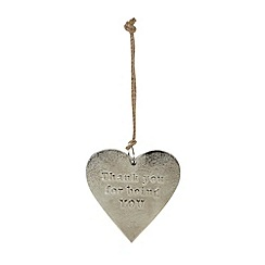 Parlane - Silver 'Thank you' hanging heart decoration