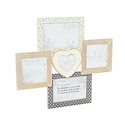 Debenhams - Cream wooden multi photo frame