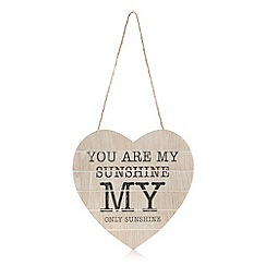 Debenhams - Wooden 'You are my sunshine' heart hanging sign