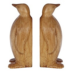 Debenhams - Set of two wooden penguin book ends