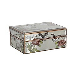 Debenhams - Glass butterfly print storage box