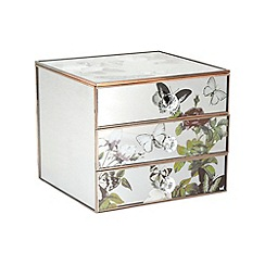 Debenhams - Silver mirrored flower printed drawer unit