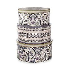 Debenhams - Set of three purple oval storage boxes
