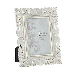 Debenhams - Wooden cream ornate 4 x 6 inch photo frame
