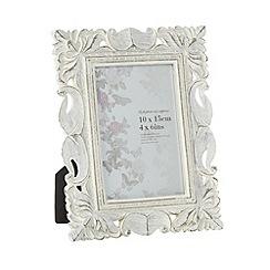 Debenhams - Wooden cream ornate 4 x 6 inch photo frame