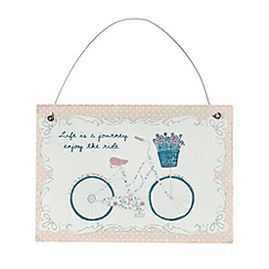 Sass & Belle - White 'Life is a journey' bicycle sign
