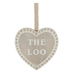 Sass & Belle - Cream hanging heart 'Loo' sign
