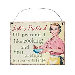 Sass & Belle - Cream 'Let's pretend' vintage housewife sign