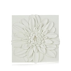 Debenhams - Ivory chrysanthemum resin wall art