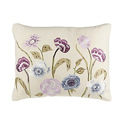 Debenhams - Cream botanical embroidered cushion