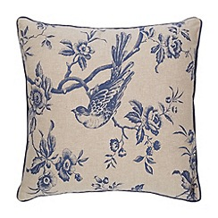 Debenhams - Blue floral bird cushion