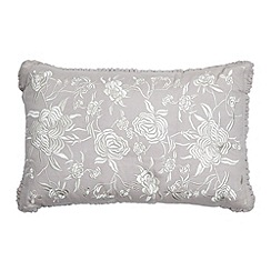 Debenhams - Taupe floral frill cushion