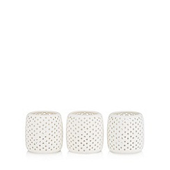 Debenhams - Set of three white tealight holders