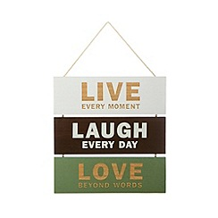 Debenhams - Wooden 'Live, Laugh, Love' triple hanging sign