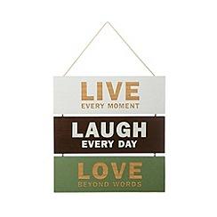 Debenhams - Wooden 'Live, Laugh, Love' triple hanging sign