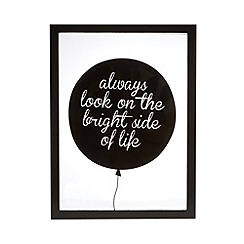 Debenhams - Black balloon slogan wall art