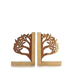 Debenhams - Natural wood tree bookend
