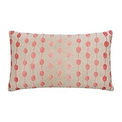 Debenhams - Coral embroidered reels cushion