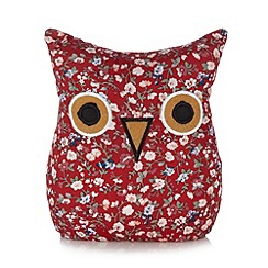 Debenhams - Red floral owl door stop