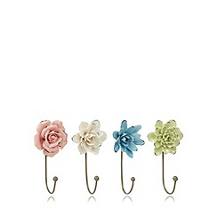 Debenhams - Set of four green ceramic flower hooks