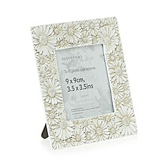 Debenhams - Cream metal daisies 3.5 x 3.5 inch photo frame