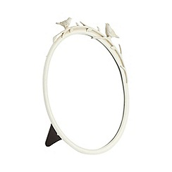 Debenhams - Cream metal bird detail oval mirror