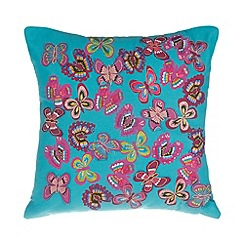 Debenhams - Turquoise layered butterflies cushion