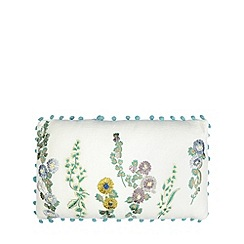 Debenhams - White embroidered floral pom pom cushion