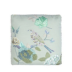 Debenhams - Aqua applique bird and flowers cushion