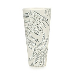 Debenhams - White fern print ceramic vase